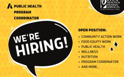 Open Position: Public Health Program Coordinator
